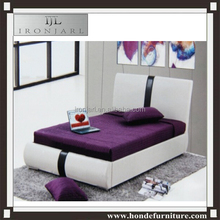 Modern Bedroom Furniture,Bedroom Furniture Set,White Leather King Size Led Beds