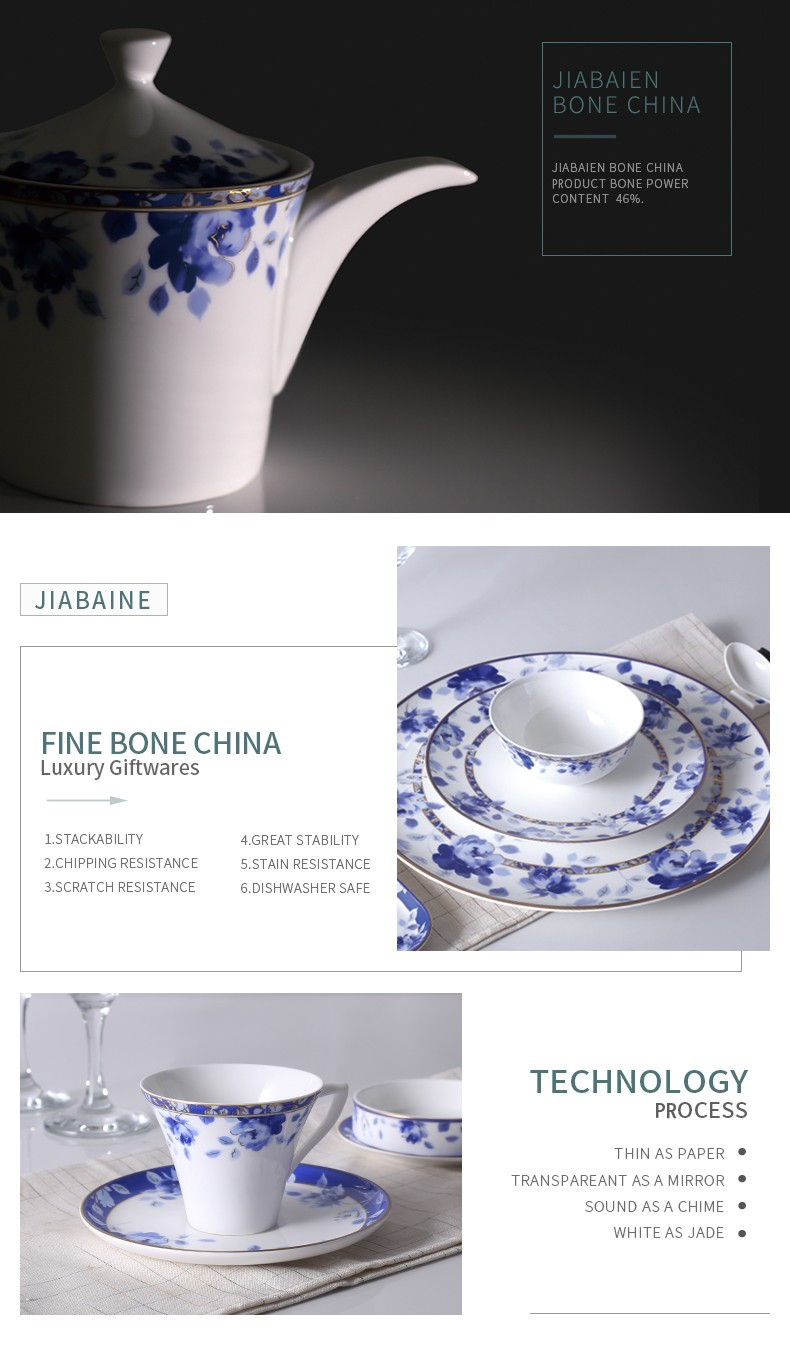 Blue and white color design hotel used bone dinner sets for sale