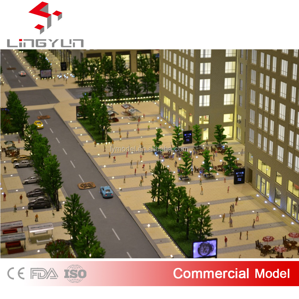 new product commercial street scale model with realistic landscape design