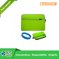 2015 Lastest Style High Quality neoprene brilliant green laptop sleeve with front pocket