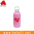 Glass Water Bottle with Silicone Sleeve Unbreakable