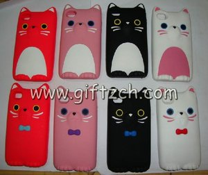 3D cat silicone mobile phone cover for iphone4,iphone 4S