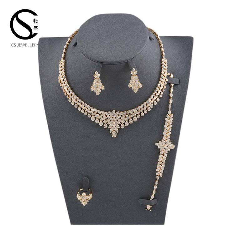 E-7304 CS Fashion AAA+ Cubic Zirconia Stone Earrings and Necklace for Wedding Bride Jewelry Set