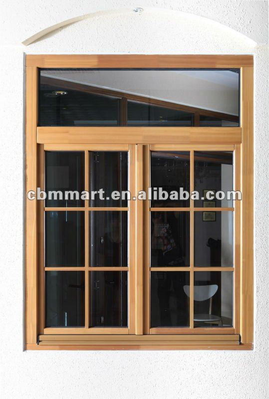Top-quality thermal break WOOD clad aluminum window with aluminum frame & double glass