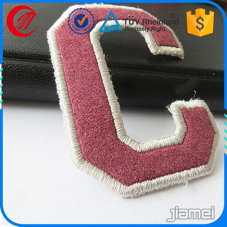 Wholesale OEM fabric alphabet letters embroidery patch for garment