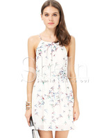 Dresses fashion women girl clothes White Spaghetti Strap Birds Print Split Dress