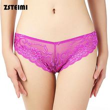 Cheap Plus Size Women Bikini Thong See-through Low-waisted Lace Girl Sexy Panty