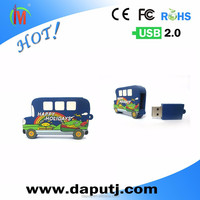 Cute design pvc bus shaped usb flash drive