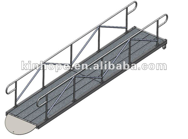 6m Dock Application Aluminum Gangway With Rails And Steel Grate Decking