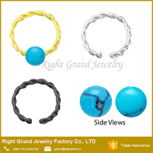 316L Surgical Steel Turquoise Ball Twisted Captive Septum Cartilage Tragus Earring Nose rings