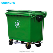 2018 hot sales new HDPE material outside green 66Ltr large garbage bin with metal foot pedal