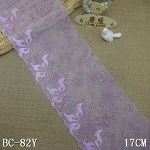 17 cm garment used light purple embroidered tulle lace trimming