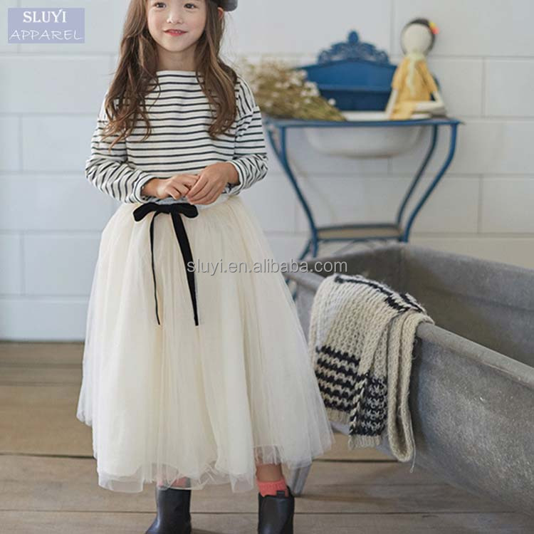 baby girl winter dresses 2017 fashion pretty Striped long Sleeve T Shirt Long Skirt Children's Clothing Sets girls clothes set