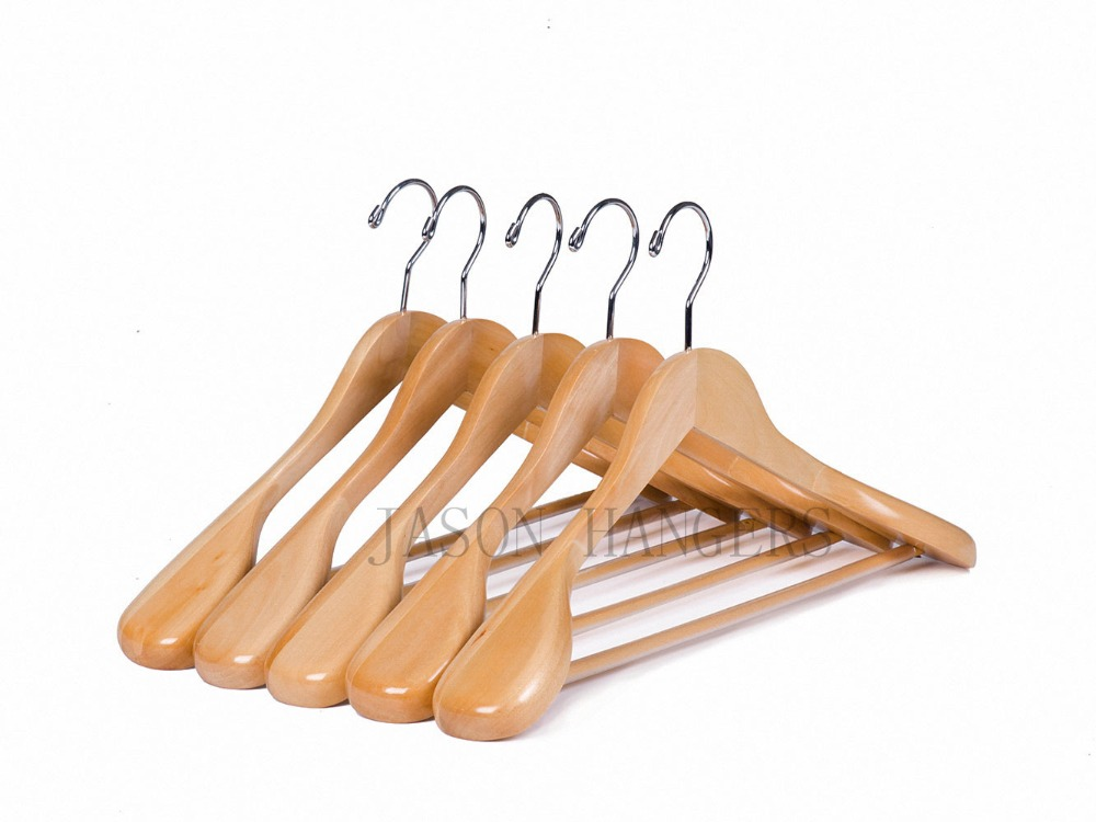 CU9632 High quality light natural color wood coat suit jacket Hangers with wide shoulders