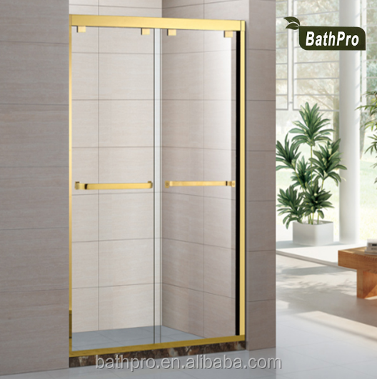 Glass Material Golden Color 2 Sided Shower Enclosure with Base