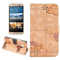 Map Pattern Flip Leather Wallet Case for HTC One M9, for HTC One M9 Flip Cover