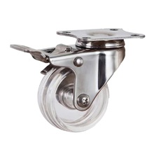 Factory supplier PC transparent wheel stainless steel table leg casters with lock