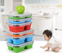Best Bento Silicone Lunch box With Two Compartments Three compartment, BPA Free, bento lunch box leakproof