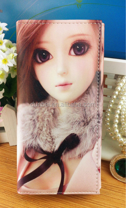 2015 alibaba stock price high quality digital printing wallets cartoon figure girls clutch purse