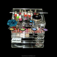 Pop acrylic makeup organizer clear box cosmetic cases
