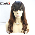 Hot,new style10A grade natural wave T color brown Glueless Indian Human Hair Full Lace Wig with bang