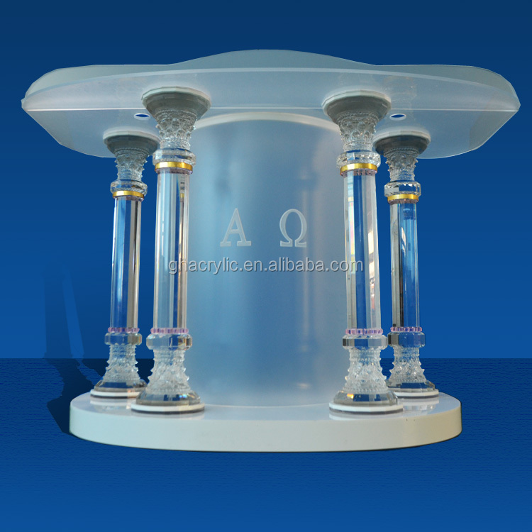 Hot sale low price detachbale dimmable LED light frosted polished organic glass clear plastic cheap acrylic church podiums