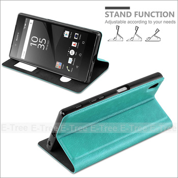 View Window cellphone cover for sony xperia z5 magnetic leather case