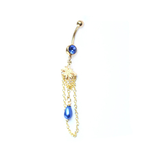 Long chain dangle belly ring jewelry gold plated