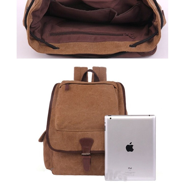 2017 Hot sale wholesale used school bags 100% cotton black canvas leather laptop student backpack