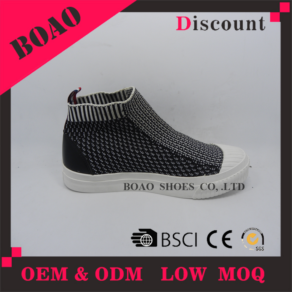 Newest design high top flyknit elastic flat men's breathable fabric casual shoes