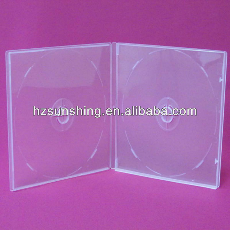 New design 9mm clear double cd dvd pp stand with booklet clips