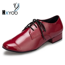 2017 Salsa Ballroom Latin Dance Men Leather Shoes OEM Red Black