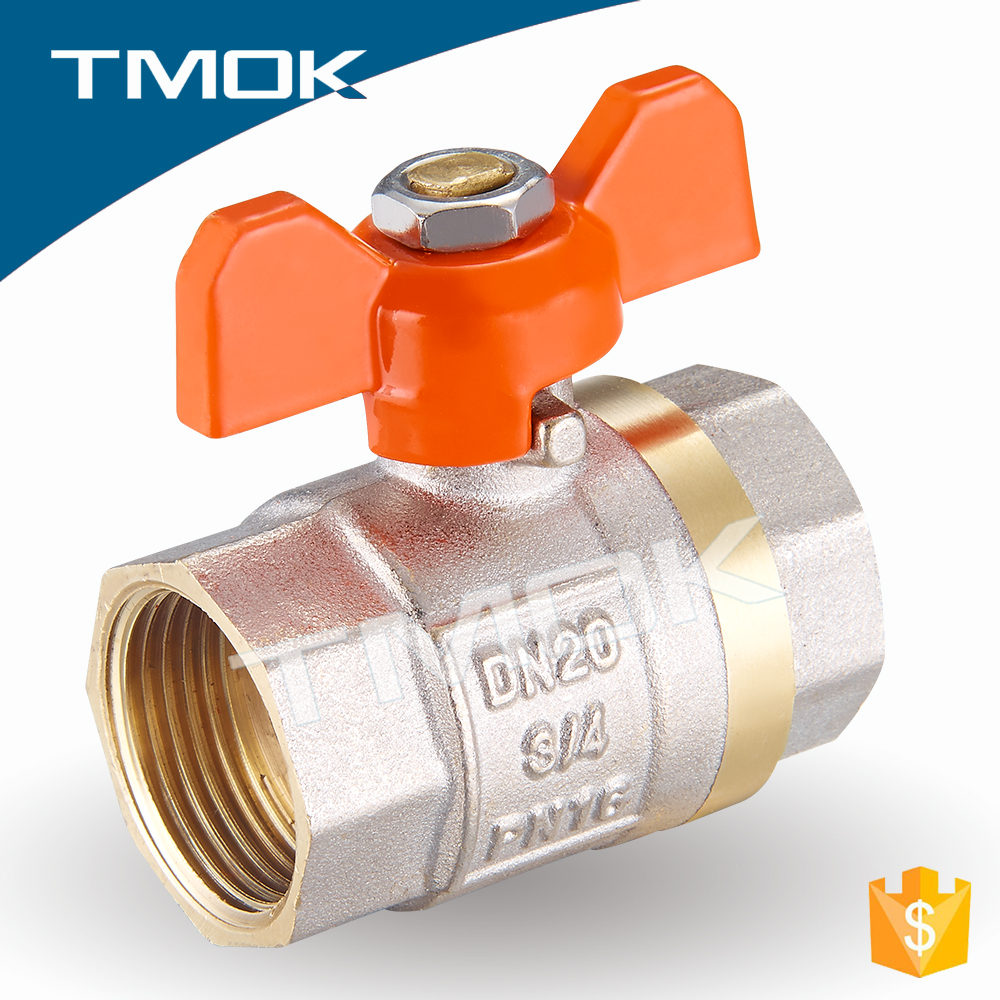 1/2 inch butterfly plastic handle with full port two pieces sand blasting CE approved brass ball valve copper