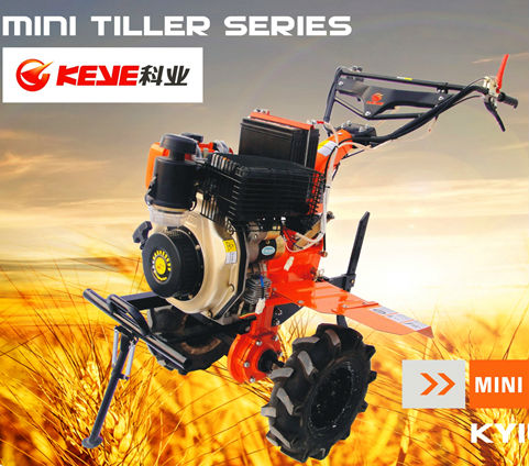 KEYE 9Hp KAMA/Kipor 186FC Diesel Engine Powered Mini Tiller with PTO Applications (Multi-Functional Diesel Tiller)