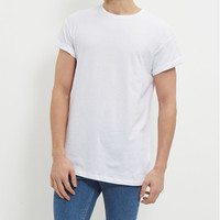 white roll sleeve very low price t-shirts for man