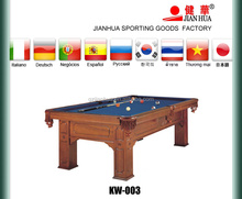 solid wood carved pool table with tiger shape leg & leather pocket