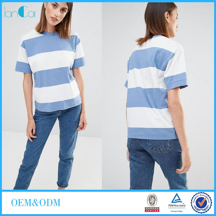 High Quality Customized 100% Viscose Ladies T-shirt in Oversized Stripe LC7050-G
