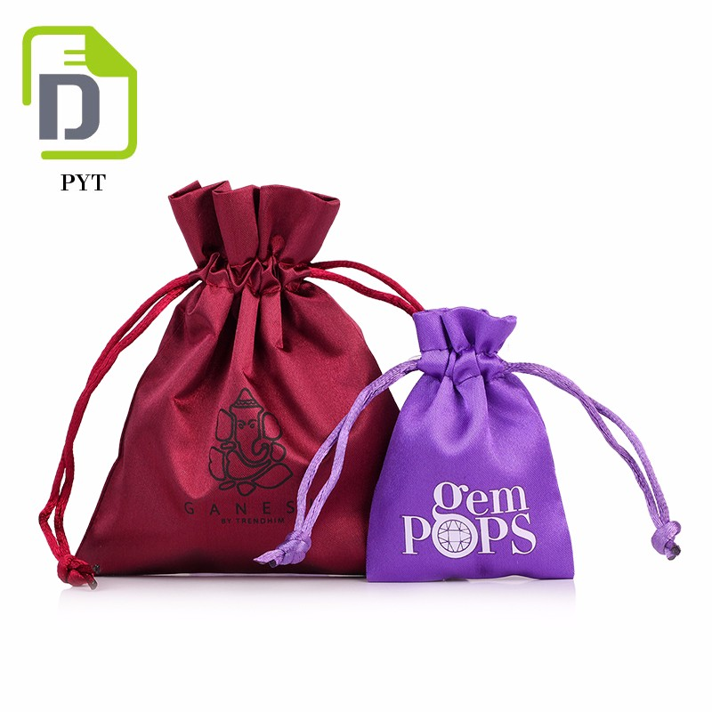 customized rope satin bags hair custom logo for wrapping jewelry
