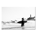 Black and White Seascape Picture Canvas Wall Art Home Wall Decoration Surfing People Photo Canvas Prints Ready to Hang