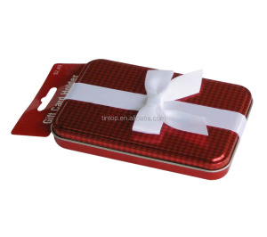 Rectangle shape customer design gift packing tin box with a silk ribbon