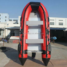 high quality inflatable pontoon fishing boat, inflatable pneumatic boat with aluminum floor