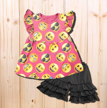 Cute Emoji Printed Flutter Sleeves Shirts With Icing Ruffle Shorts Outfits Baby Girl 2017 Boutique Clothing