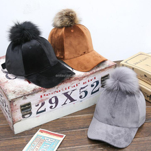 6 Panel Blank Strap Back Women Men Raccoon Fur Pom Pom Velour Velvet Baseball Cap