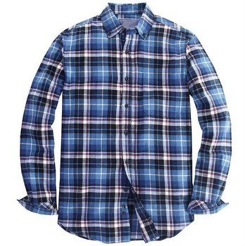 Men flannel plaid shirts long sleeve checked cotton shirt