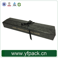 Factory supply exquisite custom cardboard wig packaging box with ribbon for hair extension