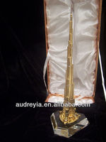 24K Gold Plated Crystal Dubai Tower Souvenirs