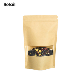 High Quality 18x26+4CM Kraft Stand Up Airtight Zipper Foil Lined Pouch Bags for Food Coffee %