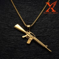 Hip Hop AK-47 Machine Gun 14k Gold Over Stainless Steel Mini Charm Pendant