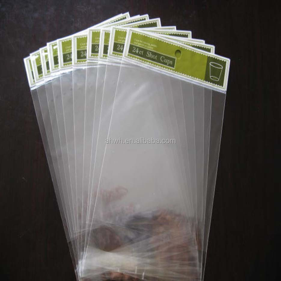 PE OPP plastic bag with self adhesive for customized