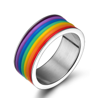 SJPR-001 Ally Express Cheap Wholesale Ring 316 Stainless Steel Fashion Silicone Rainbow Ring